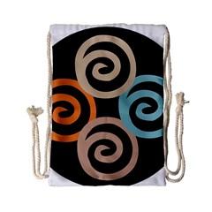 Abroad Spines Circle Drawstring Bag (small) by Mariart