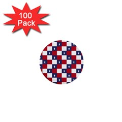 American Flag Star White Red Blue 1  Mini Buttons (100 Pack)  by Mariart
