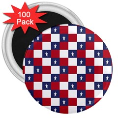 American Flag Star White Red Blue 3  Magnets (100 Pack) by Mariart