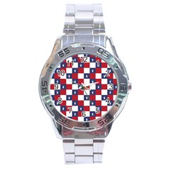 American Flag Star White Red Blue Stainless Steel Analogue Watch by Mariart