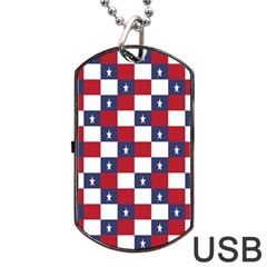 American Flag Star White Red Blue Dog Tag Usb Flash (one Side) by Mariart