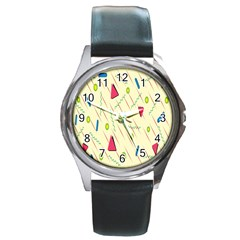 Background  With Lines Triangles Round Metal Watch
