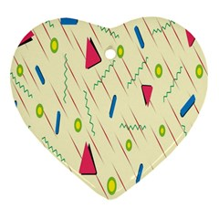 Background  With Lines Triangles Heart Ornament (two Sides) by Mariart