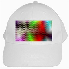 Abstract Rainbow Pattern Colorful Stars Space White Cap by Mariart