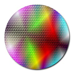 Abstract Rainbow Pattern Colorful Stars Space Round Mousepads by Mariart