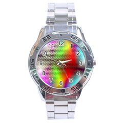 Abstract Rainbow Pattern Colorful Stars Space Stainless Steel Analogue Watch by Mariart
