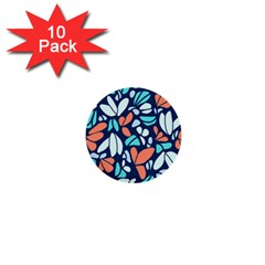 Blue Tossed Flower Floral 1  Mini Buttons (10 Pack)  by Mariart