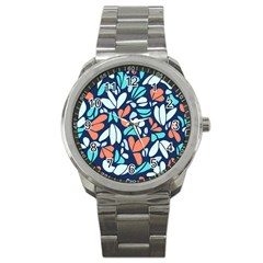 Blue Tossed Flower Floral Sport Metal Watch by Mariart