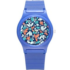 Blue Tossed Flower Floral Round Plastic Sport Watch (s) by Mariart