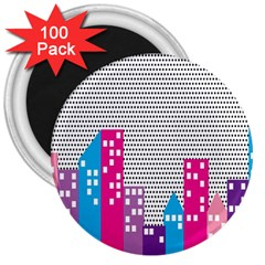 Building Polka City Rainbow 3  Magnets (100 Pack) by Mariart