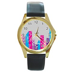 Building Polka City Rainbow Round Gold Metal Watch by Mariart