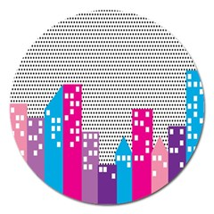 Building Polka City Rainbow Magnet 5  (round) by Mariart