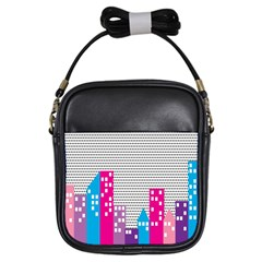 Building Polka City Rainbow Girls Sling Bags by Mariart