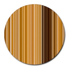 Brown Verticals Lines Stripes Colorful Round Mousepads by Mariart