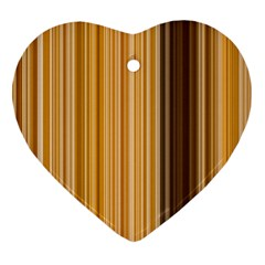Brown Verticals Lines Stripes Colorful Ornament (heart) by Mariart