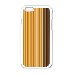 Brown Verticals Lines Stripes Colorful Apple Iphone 6/6s White Enamel Case by Mariart