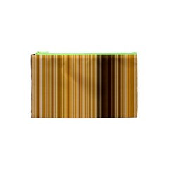 Brown Verticals Lines Stripes Colorful Cosmetic Bag (xs) by Mariart