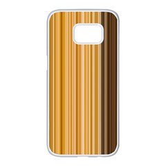 Brown Verticals Lines Stripes Colorful Samsung Galaxy S7 Edge White Seamless Case by Mariart