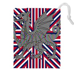 Alternatively Mega British America Dragon Illustration Drawstring Pouches (xxl) by Mariart