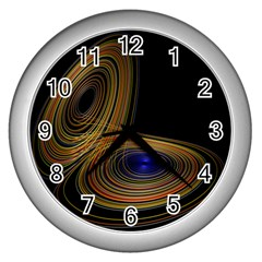 Wondrous Trajectorie Illustrated Line Light Black Wall Clocks (silver)  by Mariart