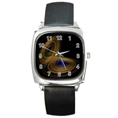 Wondrous Trajectorie Illustrated Line Light Black Square Metal Watch by Mariart