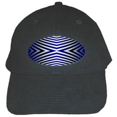 Blue Lines Iterative Art Wave Chevron Black Cap by Mariart