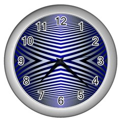 Blue Lines Iterative Art Wave Chevron Wall Clocks (silver)  by Mariart