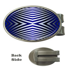 Blue Lines Iterative Art Wave Chevron Money Clips (oval)  by Mariart