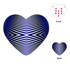 Blue Lines Iterative Art Wave Chevron Playing Cards (heart)  by Mariart