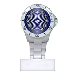 Blue Lines Iterative Art Wave Chevron Plastic Nurses Watch by Mariart
