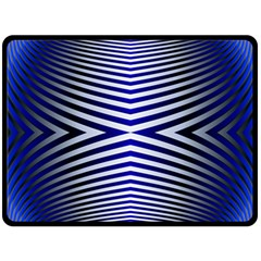Blue Lines Iterative Art Wave Chevron Double Sided Fleece Blanket (large)  by Mariart