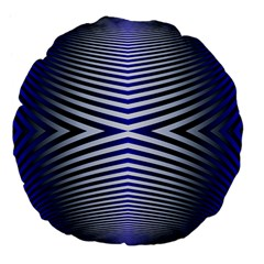 Blue Lines Iterative Art Wave Chevron Large 18  Premium Flano Round Cushions by Mariart
