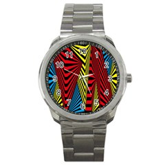 Door Pattern Line Abstract Illustration Waves Wave Chevron Red Blue Yellow Black Sport Metal Watch by Mariart