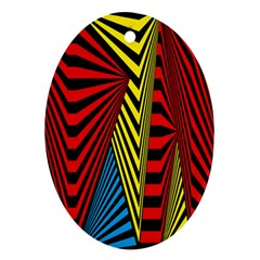 Door Pattern Line Abstract Illustration Waves Wave Chevron Red Blue Yellow Black Oval Ornament (two Sides) by Mariart