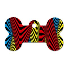 Door Pattern Line Abstract Illustration Waves Wave Chevron Red Blue Yellow Black Dog Tag Bone (one Side) by Mariart