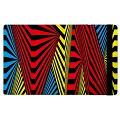 Door Pattern Line Abstract Illustration Waves Wave Chevron Red Blue Yellow Black Apple Ipad 3/4 Flip Case by Mariart