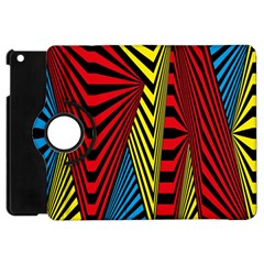 Door Pattern Line Abstract Illustration Waves Wave Chevron Red Blue Yellow Black Apple Ipad Mini Flip 360 Case by Mariart