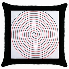 Double Line Spiral Spines Red Black Circle Throw Pillow Case (black) by Mariart