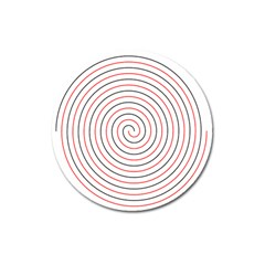 Double Line Spiral Spines Red Black Circle Magnet 3  (round) by Mariart