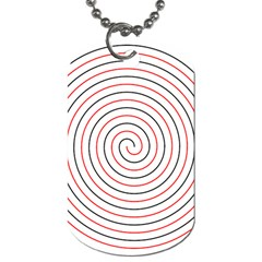 Double Line Spiral Spines Red Black Circle Dog Tag (one Side) by Mariart