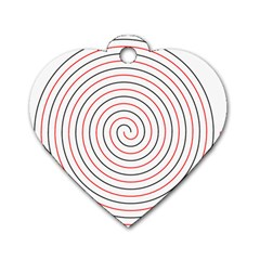 Double Line Spiral Spines Red Black Circle Dog Tag Heart (two Sides) by Mariart