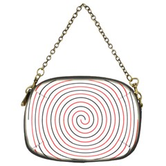 Double Line Spiral Spines Red Black Circle Chain Purses (two Sides)  by Mariart