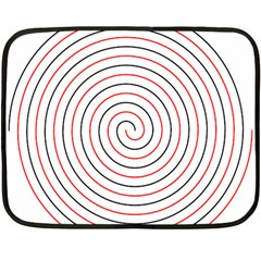 Double Line Spiral Spines Red Black Circle Fleece Blanket (mini) by Mariart