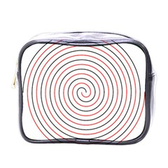 Double Line Spiral Spines Red Black Circle Mini Toiletries Bags by Mariart