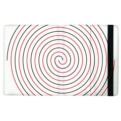Double Line Spiral Spines Red Black Circle Apple Ipad 3/4 Flip Case by Mariart