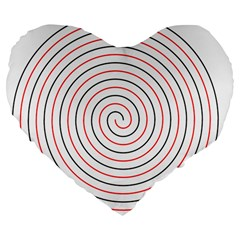 Double Line Spiral Spines Red Black Circle Large 19  Premium Flano Heart Shape Cushions by Mariart