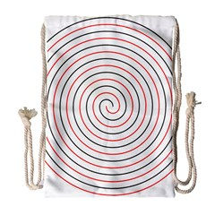 Double Line Spiral Spines Red Black Circle Drawstring Bag (large) by Mariart