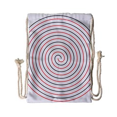 Double Line Spiral Spines Red Black Circle Drawstring Bag (small) by Mariart