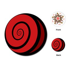 Double Spiral Thick Lines Black Red Playing Cards (round)  by Mariart