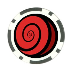 Double Spiral Thick Lines Black Red Poker Chip Card Guard